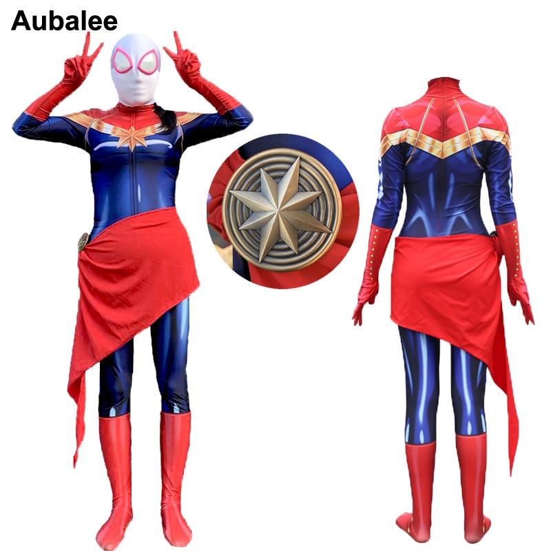 Women Kids Ms Captain Marvel Carol Danvers Costume Superhero Cosplay Adult Girls Halloween Carnival Party Bodysuit Jumpsuits