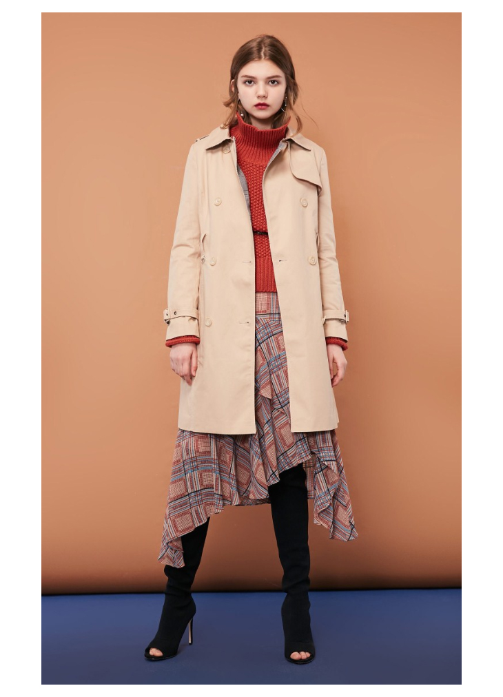 ONLY Women's Bi-tone Fabric Double-breasted Wind Coat 118336571 13