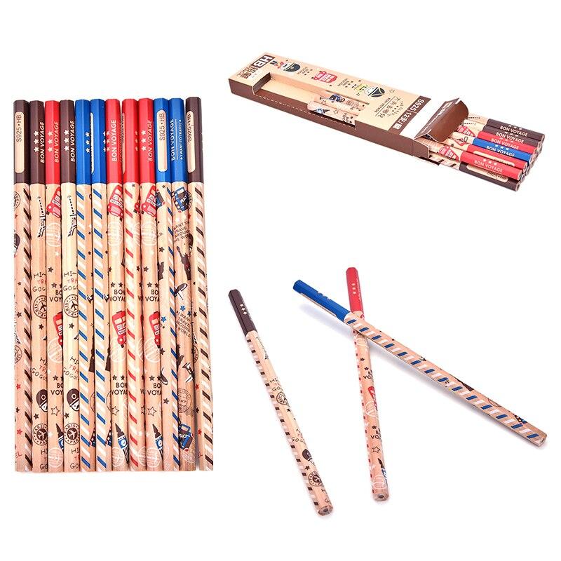 12 pcs Cute Pencil Bon Voyage HB School Novelty Writing Wooden Pencil Kids TO