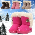 Children Snow Boots Winter Cotton Padded Boots For Kids Girls And Boys Button Short Boots Baby Soft Winter Shoes