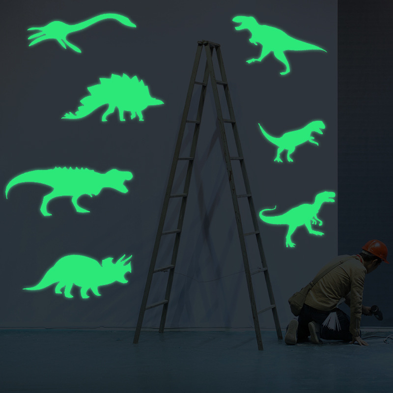 9pcs/set Glow In The Dark Dinosaur Glowing Toy Stickers Ceiling Luminous Dinossauro Shine In The Dark Dino Toys Stickers Room