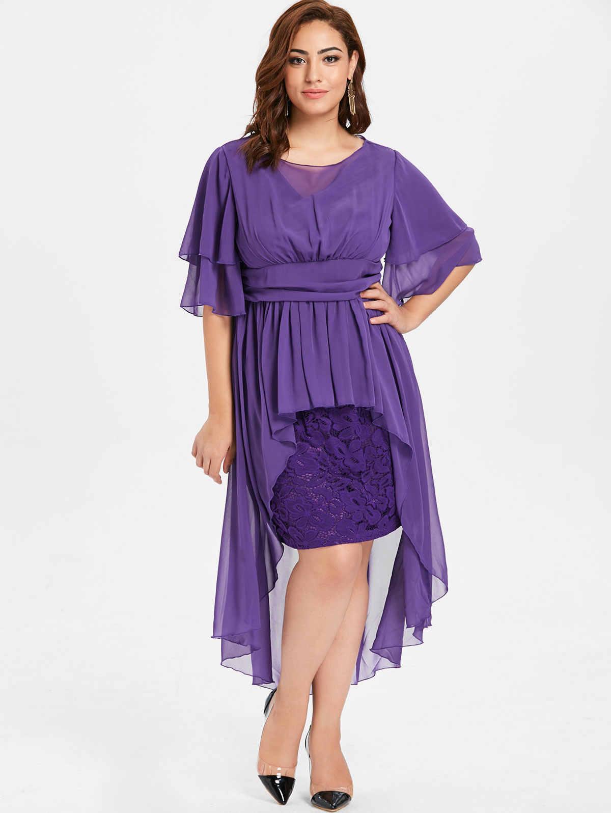 Wipalo Plus Size Elegant Party Dress High Waist Lace Panel High Low Dress Women Half Sleeves O Neck Mid-Calf Dress Vestidos 5XL
