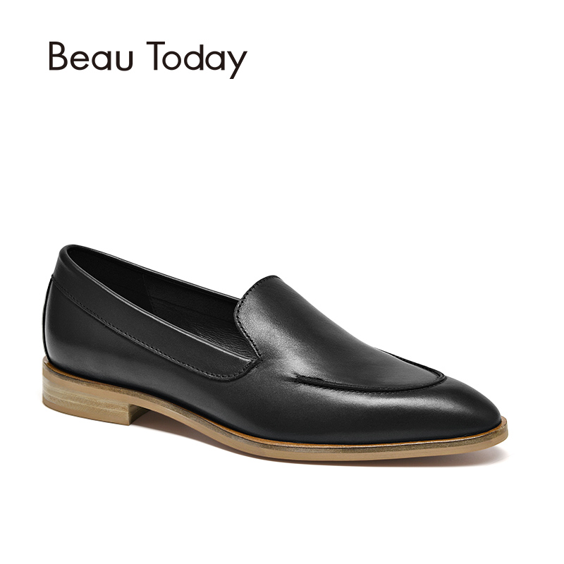 BeauToday Loafers Genuine Leather Pointed Toe Slip On Spring Autumn Comfortable Handmade Calfskin Shoes Women 27100 поводок для собак happy house luxury цвет темно коричневый длина 125 см