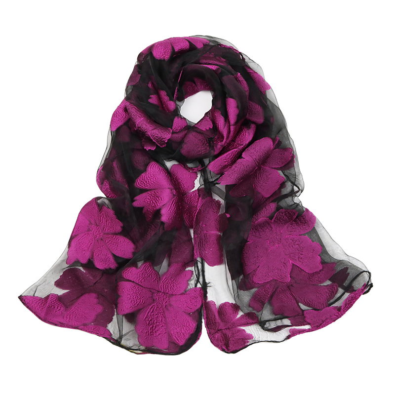 Neelamvar brand   scarf   women's leaves flowers long shawl Spring and Autumn echarpe high-quality organza lady elegant hijab   wraps
