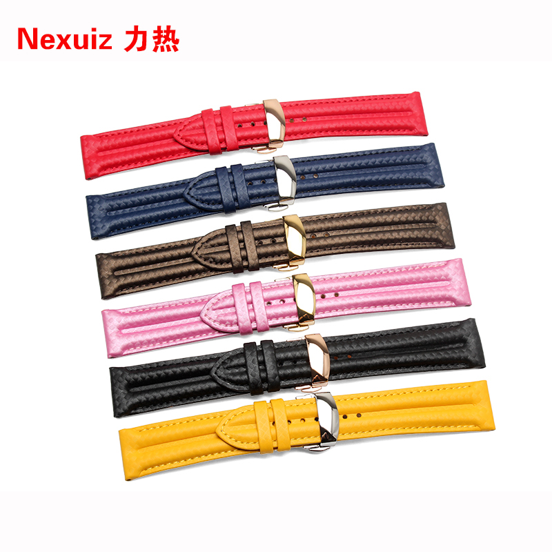 HOT Selling High quality New Arrival Genuine leather Watchband  Carbon fiber Straps 22mm  with stainless steel buckle high quality pci 6503 selling with good quality