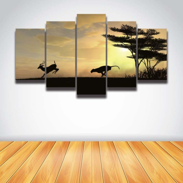 Printed picture wild deer leopard animal painting African sunset ...