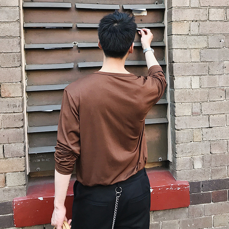 M XL! New style long sleeve T shirt men's trim round neck Korean version of the trend of solid color base shirt