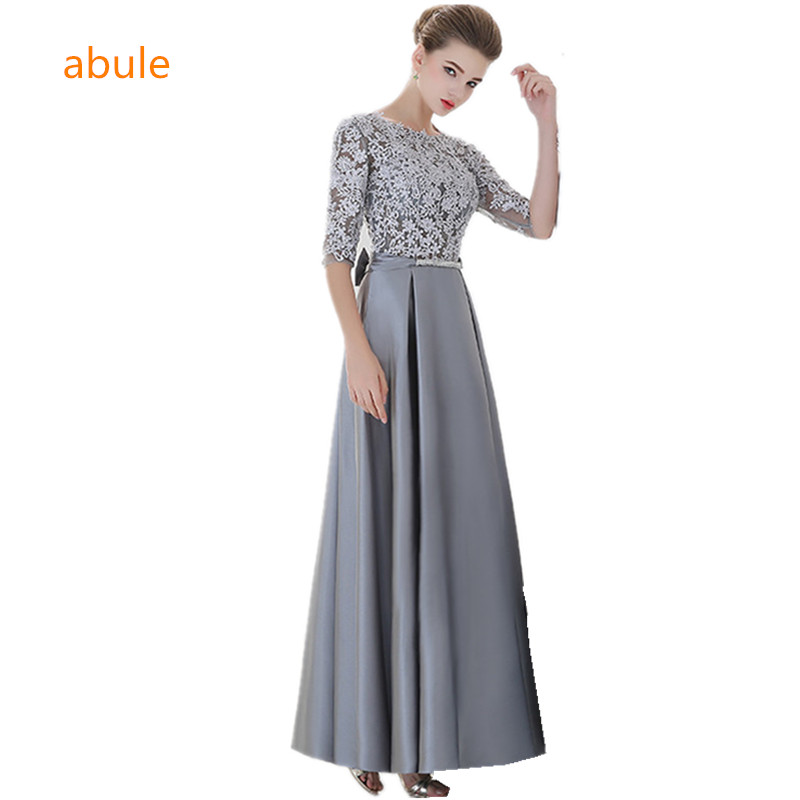 abule Long   Evening     Dresses   o-neck sheer Elegant a-line three-quarter Lace Mermaid 2017 Prom Party   Dress   Robe De Soiree Longue
