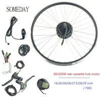 SOMEDAY 36V250W Electric Bicycle Conversion kit with LCD5 Display E bike Kits Rear Cassette hub Motor Wheel with Spoke and Rim Conversion Kit     -