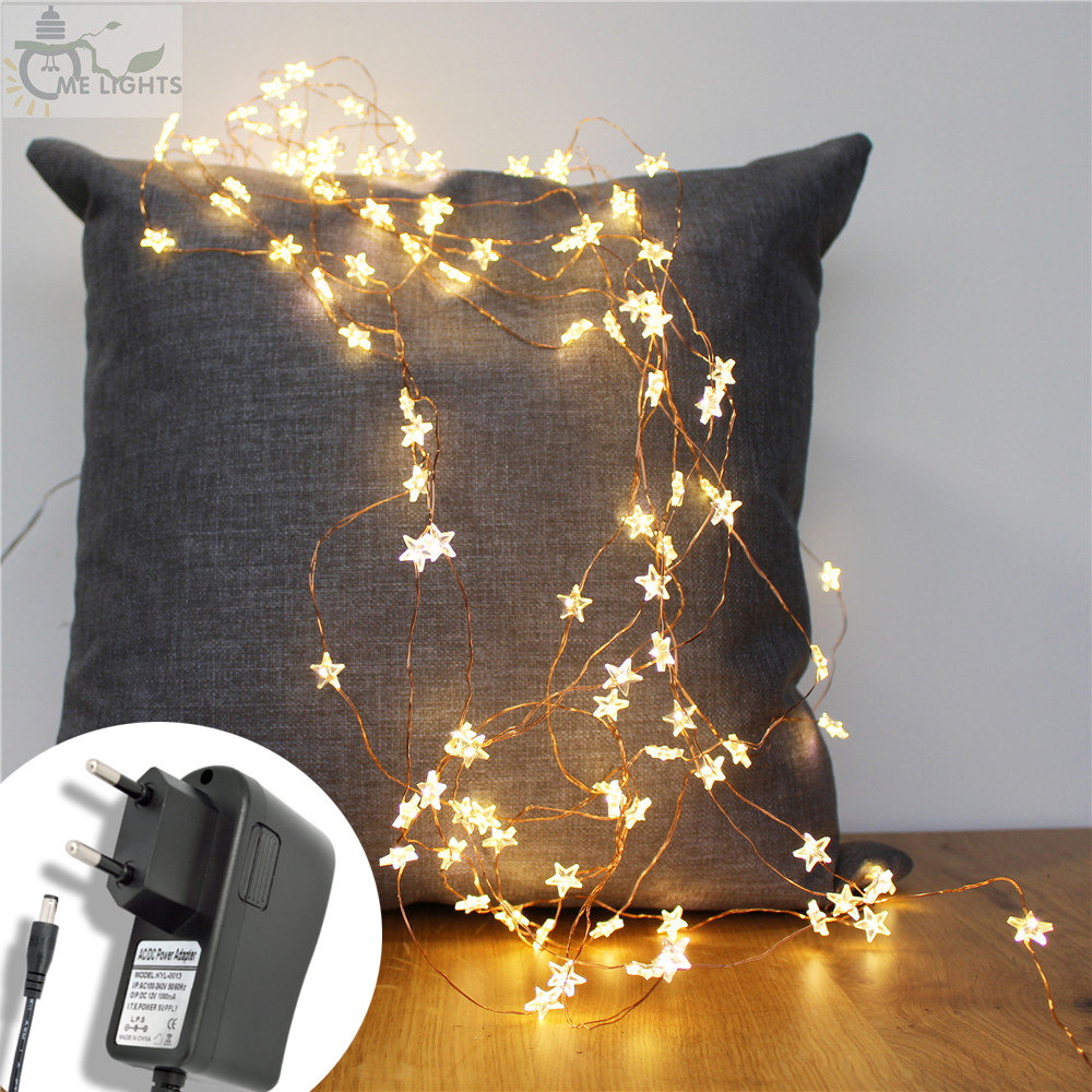 10M 100 Star Shape Copper Wire String Lights With Plug In 110V 220V Input Fairy Lights For Holiday Christmas Garland Decoration