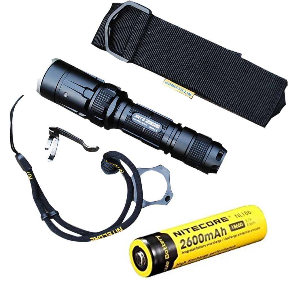 Tactical Flashlight NITECORE SRT6 KIT XM-L2 T6 max.930LM beam distance 260M Infinite brightness tactical with 2600mAh battery nitecore smartring tactical srt6 930 lumens cree xm l xm l2 t6 tactical led flashlight use18650 torch grey black free shipping