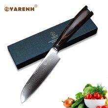 YARENH 5 damascus steel Santoku Knives Color wood handle best kitchen knives fillet knife japanese chef