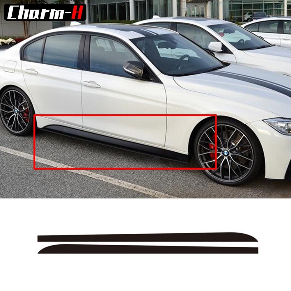 2pcs Matte Gloss 5D Carbon Fibre Side Skirt Sill Decal For BMW F30 F31 M-Packet M Line Racing Stripe M Performance Sticker