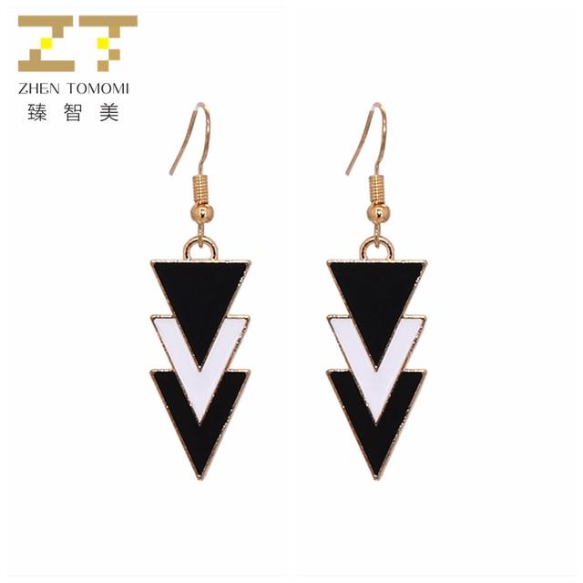 2018 New Arrivals Fashion Black White Multi-layer Triangle Brincos oorbellen Sim