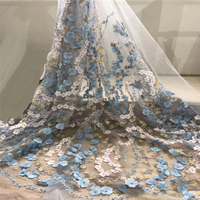 3D Fabric Flowers Net Lace With Beads And Stones African Embroidery Lace Fabric 2018 French Tulle Lace Fabric For Wedding W06