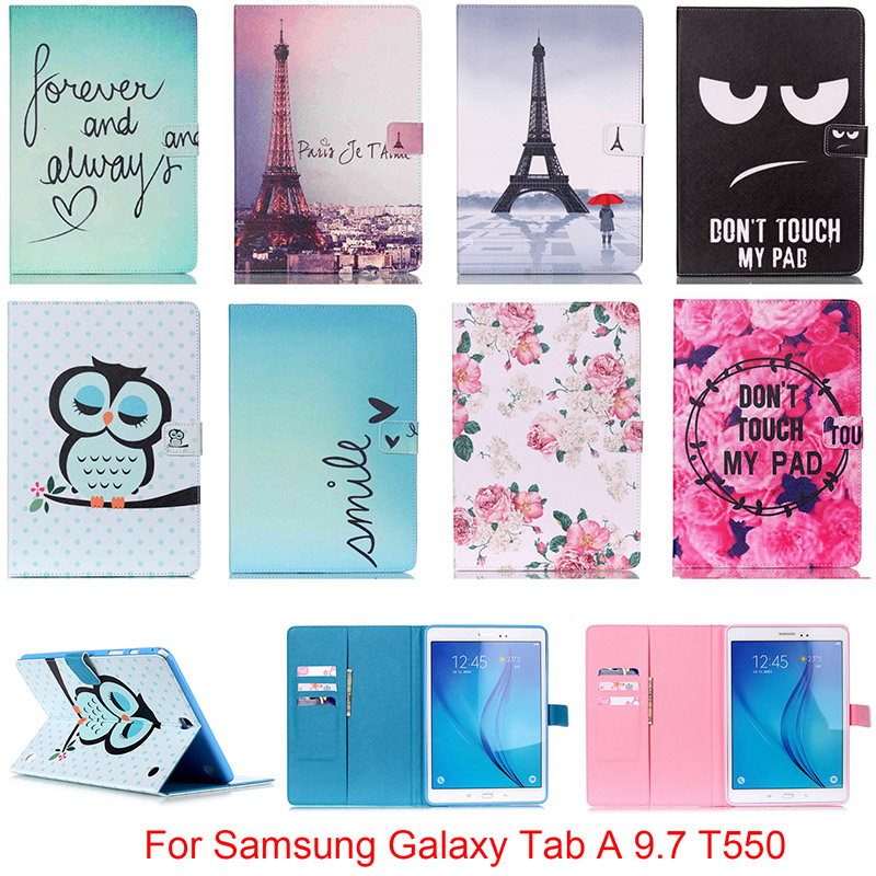 Fashion PU Leather Flip Case For Samsung Galaxy Tab A 9.7 SM-T550 T550 T551 T555 Original Tablet Stand Case With Card Slot DP00E