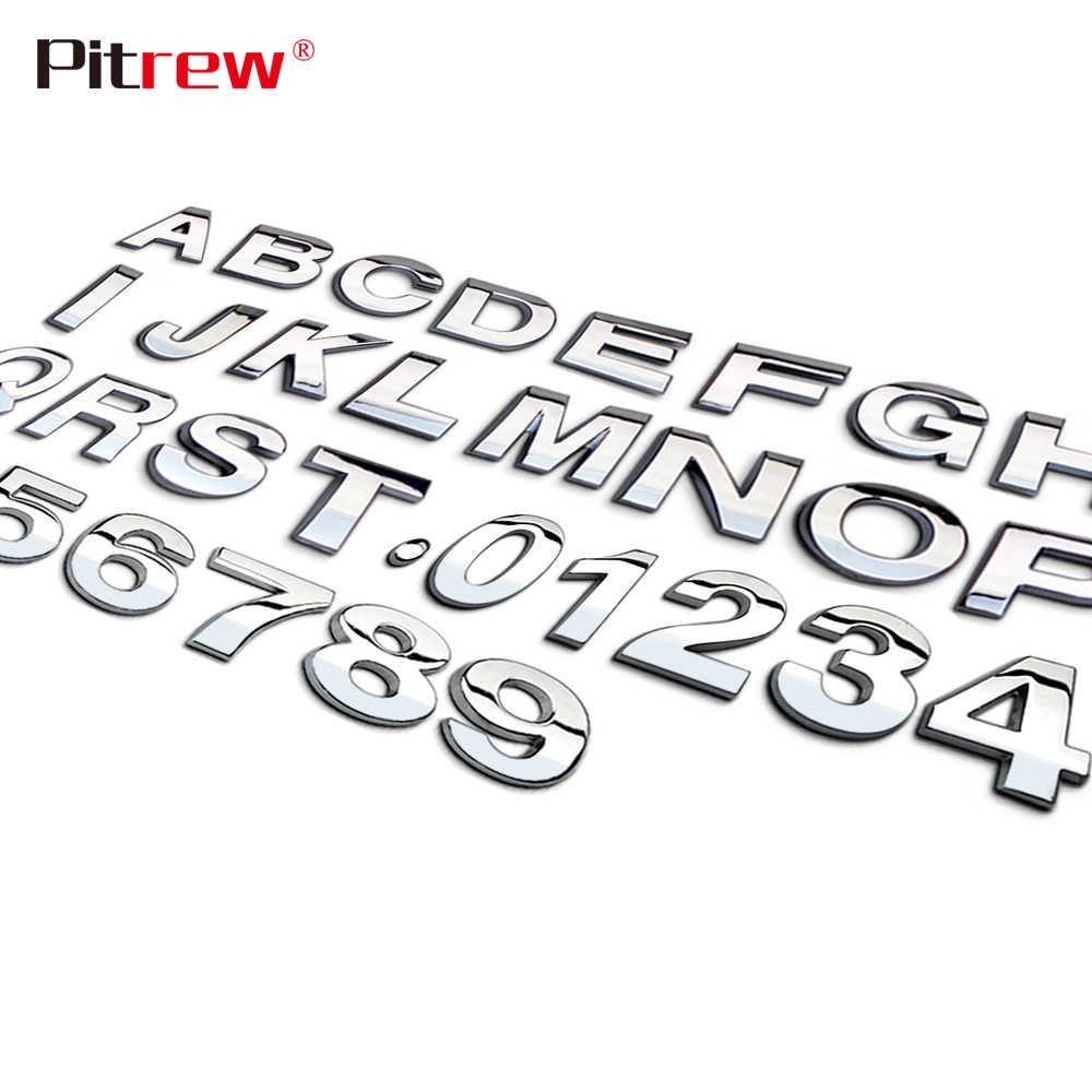 25 Mm 3D Kiểu Dáng Xe Kim Loại Bạc/Đen Tự Làm Vòng Cung Chữ Chrome Kỹ Thuật Số Bảng Chữ Cái Quốc Huy Decal Dán Xe Ô Tô Tùy Chỉnh logo Ô Tô