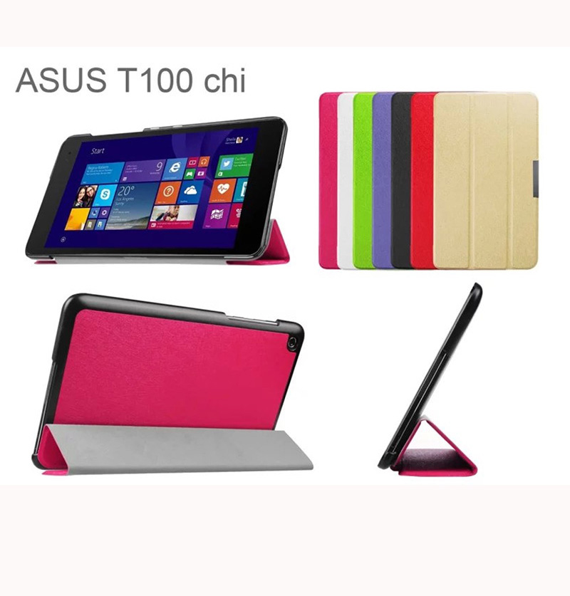 Ultra Slim  Magnetic Folio Stand Tri-fold Custer PU Flip Leather Case Cover For ASUS Transformer Book T100 Chi T100chi 10.1 flip cover for asus transformer book