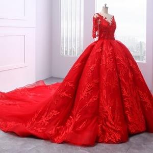 Image 2 - Miaoduo ontwerp Rode Trouwjurken Scoop Baljurk Kant Applicaties Parels Vestido De Novias Prinses Kathedraal Trein High end nieuwe