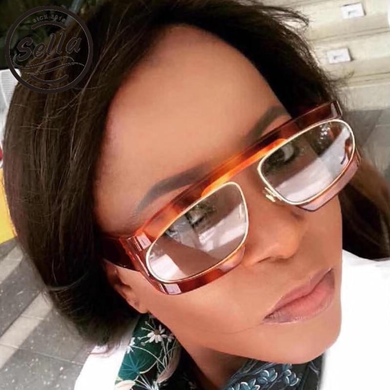 Sella 2018 nueva moda hombres mujeres gafas de sol Steampunk marca diseñador Popular gafas cuadradas marco gafas únicas