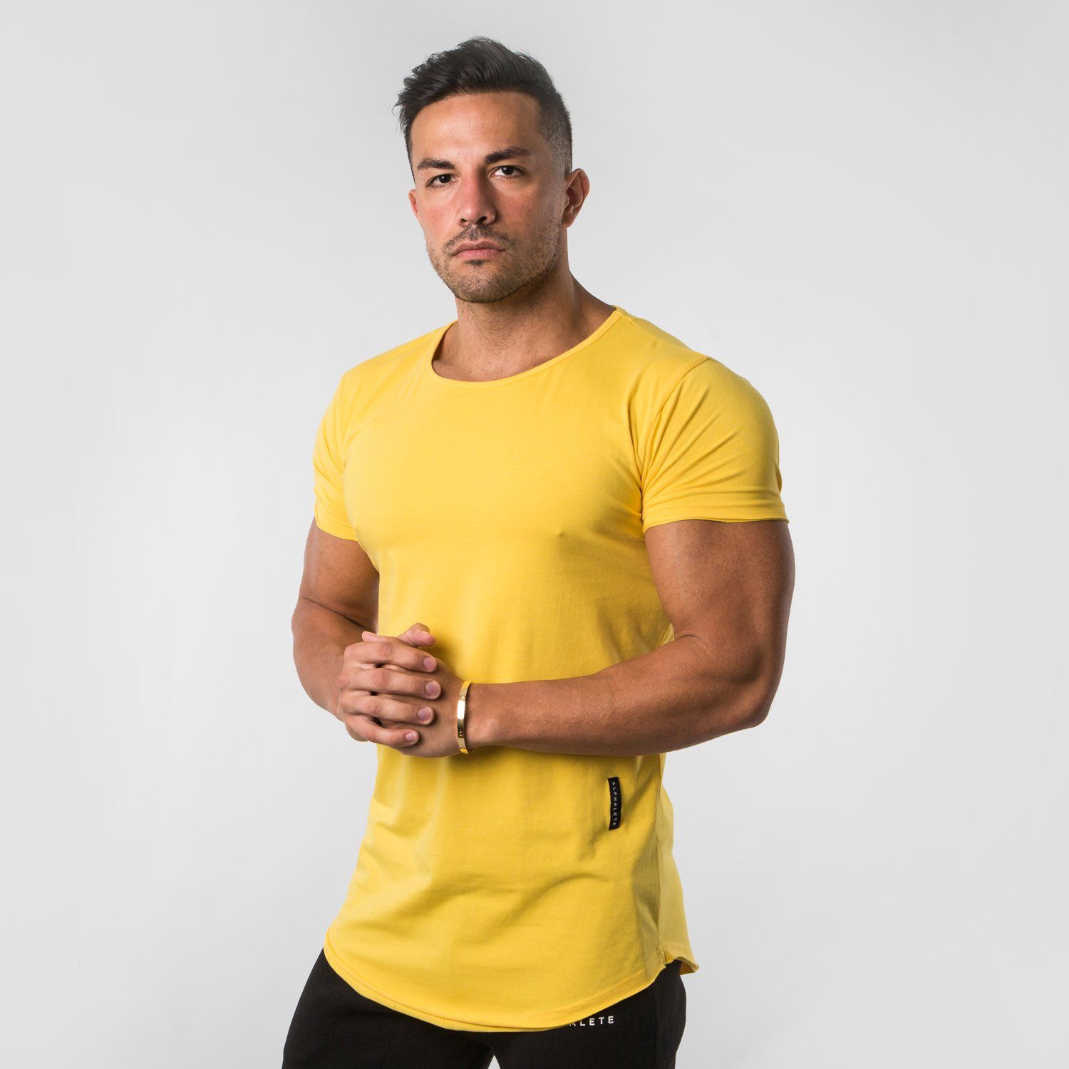ALPHALETE 2019 New Men Casual T-shirts Gyms Tight Fitness Mens Short Sleeve T-shirts Cotton Mens Spring Sportwear O-Neck Tees