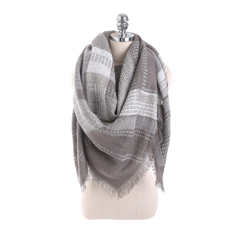 Sleeper #J5 2019 NEW FASHION Women Plaid Stitch Long Cashmere Wool Shawl Plaid Neck   Scarf     wraps   winter schal Warm gifts hot
