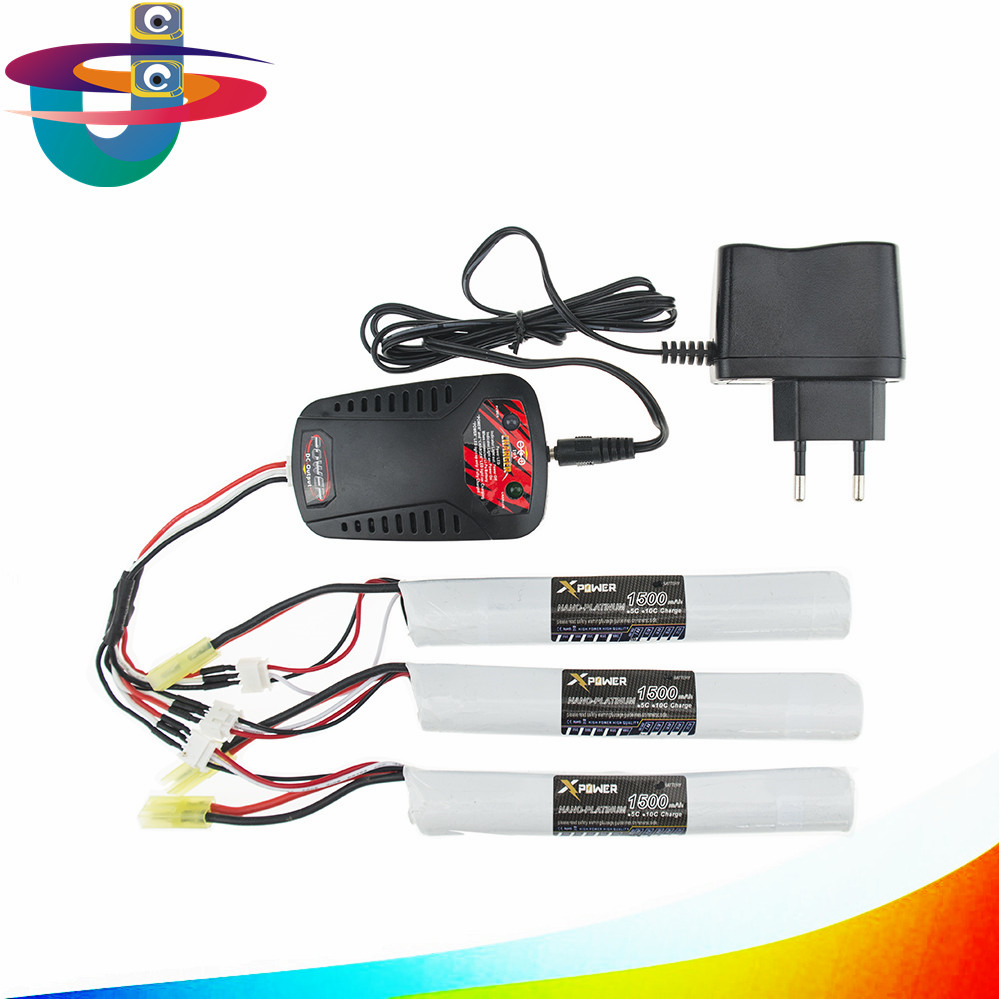 EU plug balance charger 1to3 cable 3pcs 7.4V 1500MAH 15C XPower RC lithium battery AKKU Mini Airsoft Gun Battery Tamiya 18650 us china plug charger 1to3 cable 7 4v 1500mah 18650 battery parts for mjx t40 t40c f39 f49 t39 syma 822 rc helicopter wholesale