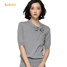 Spring Summer Casual Knitted Solid Color Pullover Butterfly Collar Patchwork Loose Short Sleeve Women Sweater XZ297