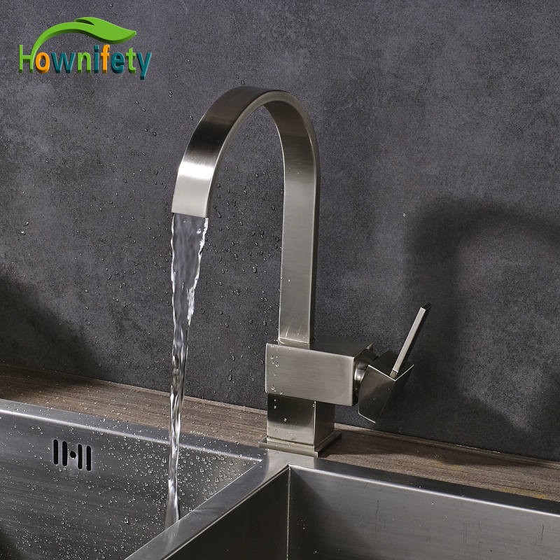 Фотография Nickel Brushed Kitchen Sink Faucet Single Handle Countertop Mixer Tap Solid Brass