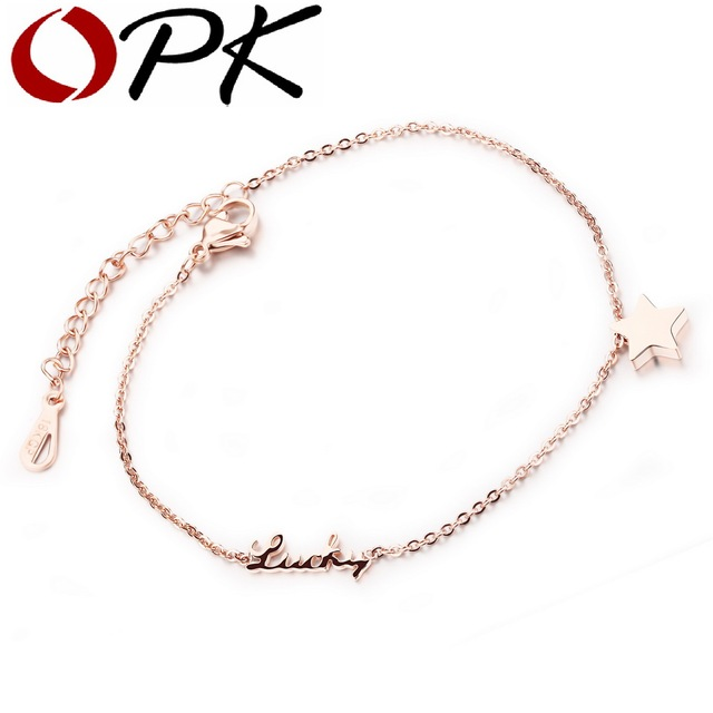 OPK Romantic Star Lucky Woman Anklets Fashion Rose Gold Color