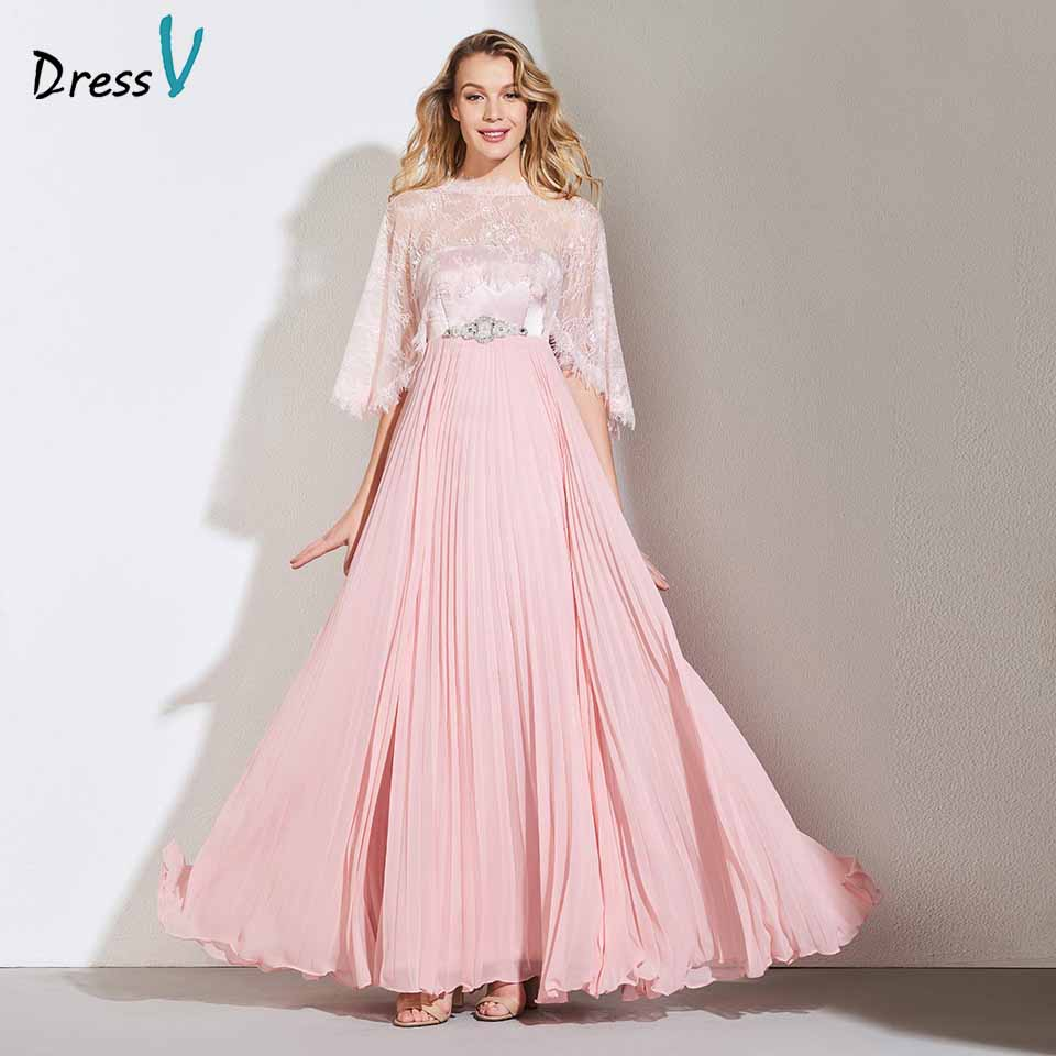 Dressv Dark Pearl Pink Evening Dress Strapless A Line With Jacket Beaded Lace Wedding Party Formal Dress Evening Dresses