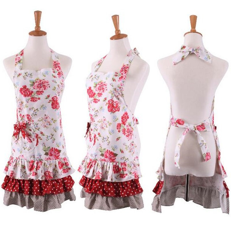 1Pcs Pink Flower Red White Apron Woman Adult Bibs Home Cooking Baking Coffee Shop Cleaning Aprons Kitchen Accessories 46042