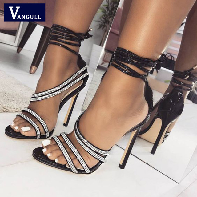 Vangull Women Sandals Crystal High Heels 2019 New Summer Ankle Strap Sandal  Female Shoes Ankle Bow