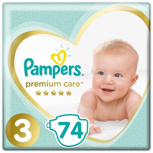 Подгузники Pampers Premium Care 6-10 кг, Размер 3, 74 шт..