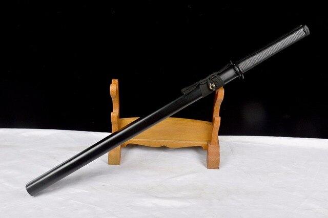 New Practical Genuine Japanese Samurai Ninja Swords High Carbon Steel Straight Blade Full Black Handmade Sharp Double Knives 2