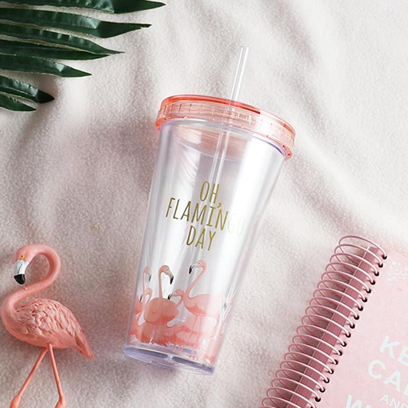 500ml Flamingo Plastic Travel Tea Coffee Mug Straw Cup Tubule With Lid Cute Cartoon Drinking Double Wall For Milk Juice Water