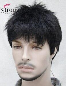 Image 4 - Короткий полосатый полностью синтетический парик для мужчин, мужские волосы, флисовые реалистичные парики