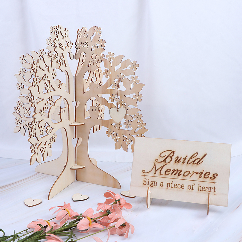 Wedding Guest Signature Book Wooden Hearts 3D Wedding Guest Book Tree Pendant Drop Ornaments for Wedding Party Decor Supplies(China)