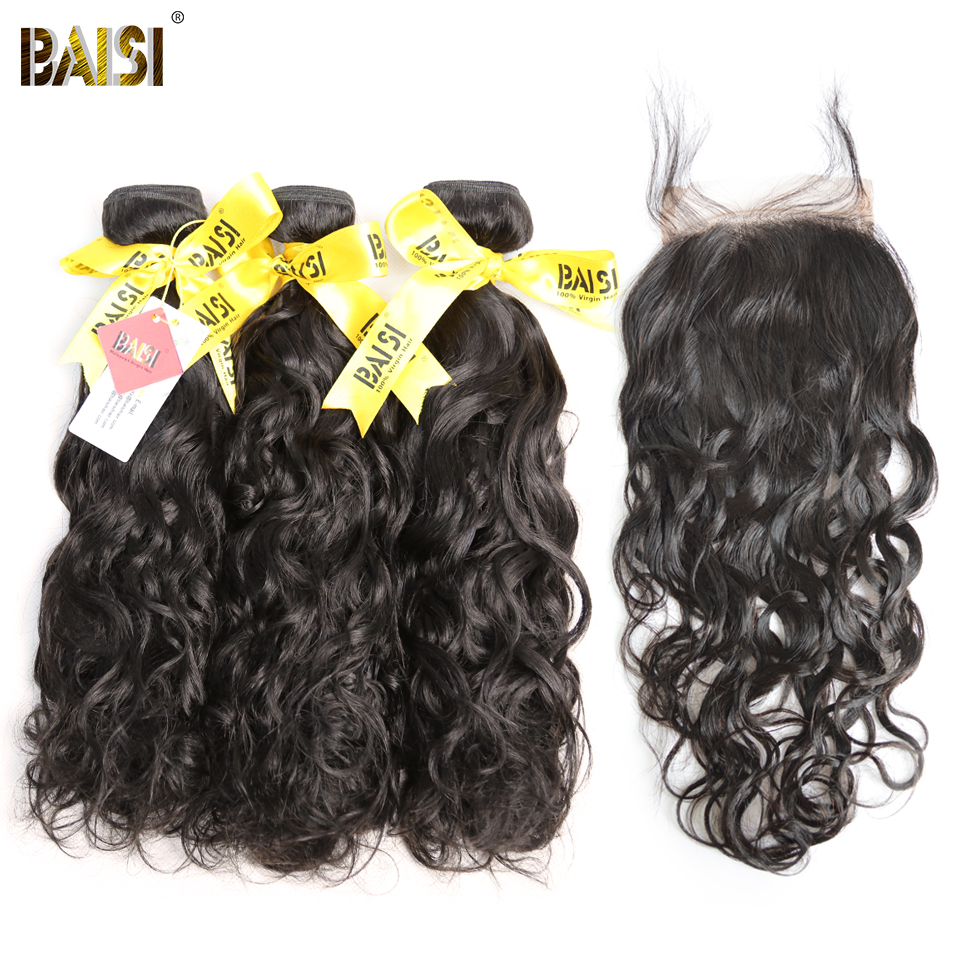 BAISI Hair Unprocessed Malaysian Virgin Hair Water Wave Hair Weave 3 Bundles with Closure 100 Human