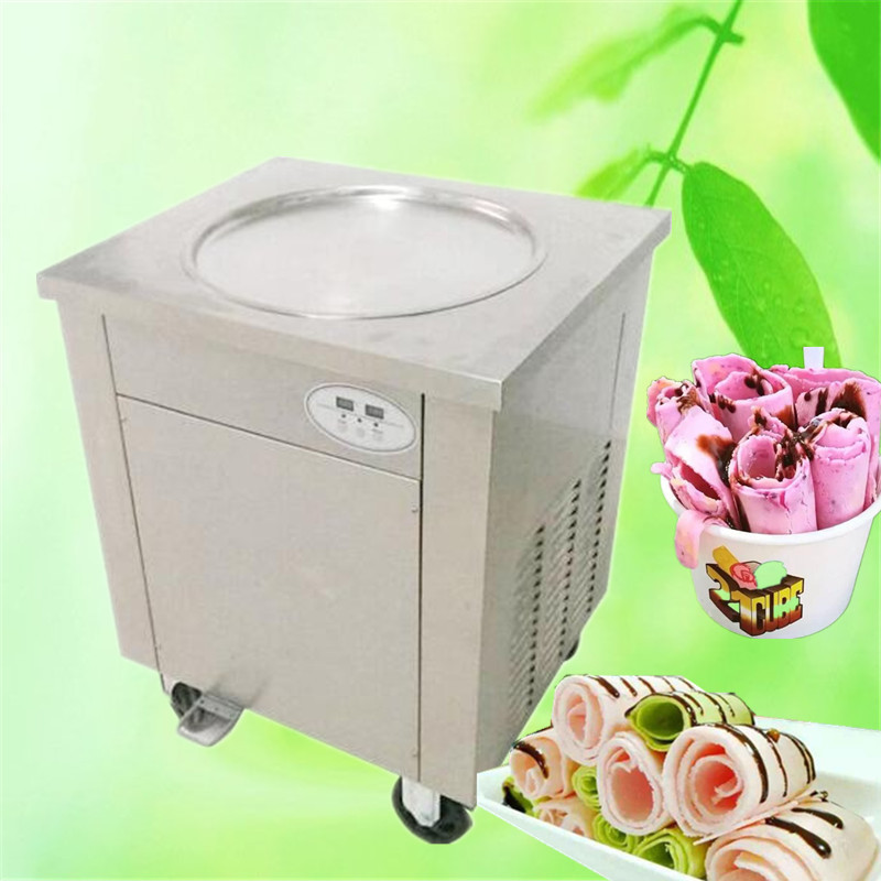 CE fried ice roll pan machine,110V stainless steel fried ice machine,single pan ice pan machine, Thai ice cream roll machine single pan double compressor fried ice cream machine stainless steel fried ice cream roll machine intelligent fried ice machine