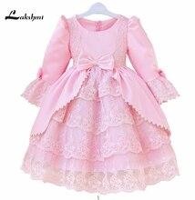 Stock Pink Kids Prom Dresses Knee Length A-line Long Sleeve Flower Girl Dress for Wedding