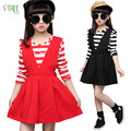 New Girls Clothing Sets Teenage Girls Clothes School Uniform Girls Striped T Shirt And Dress Set Kids Children Autumn Clothes