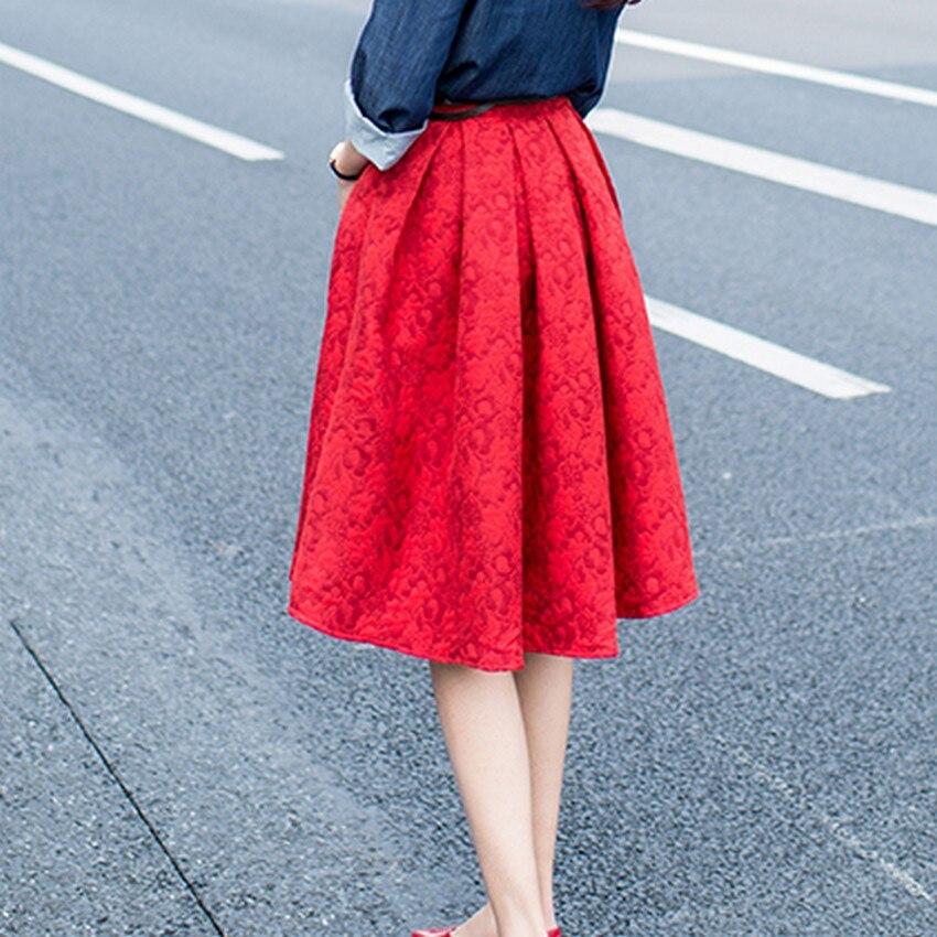 EXOTAO Φθινόπωρο Ρετρό Υψηλή Μέση Φούστα - Γυναικείος ρουχισμός - Φωτογραφία 4