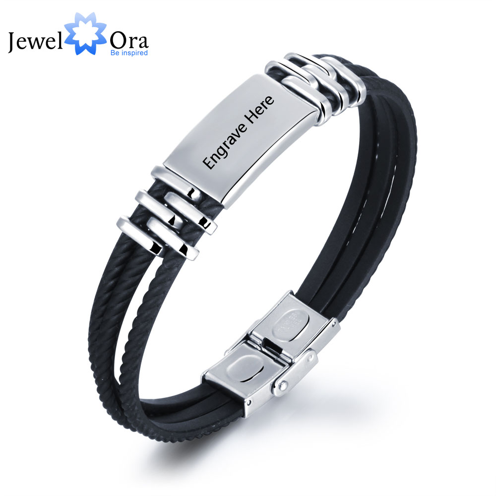 Personalized Engrave Bracelets For Men Stainless Steel Customization 210mm Length Bracelets & Bangles (JewelOra BA101450)