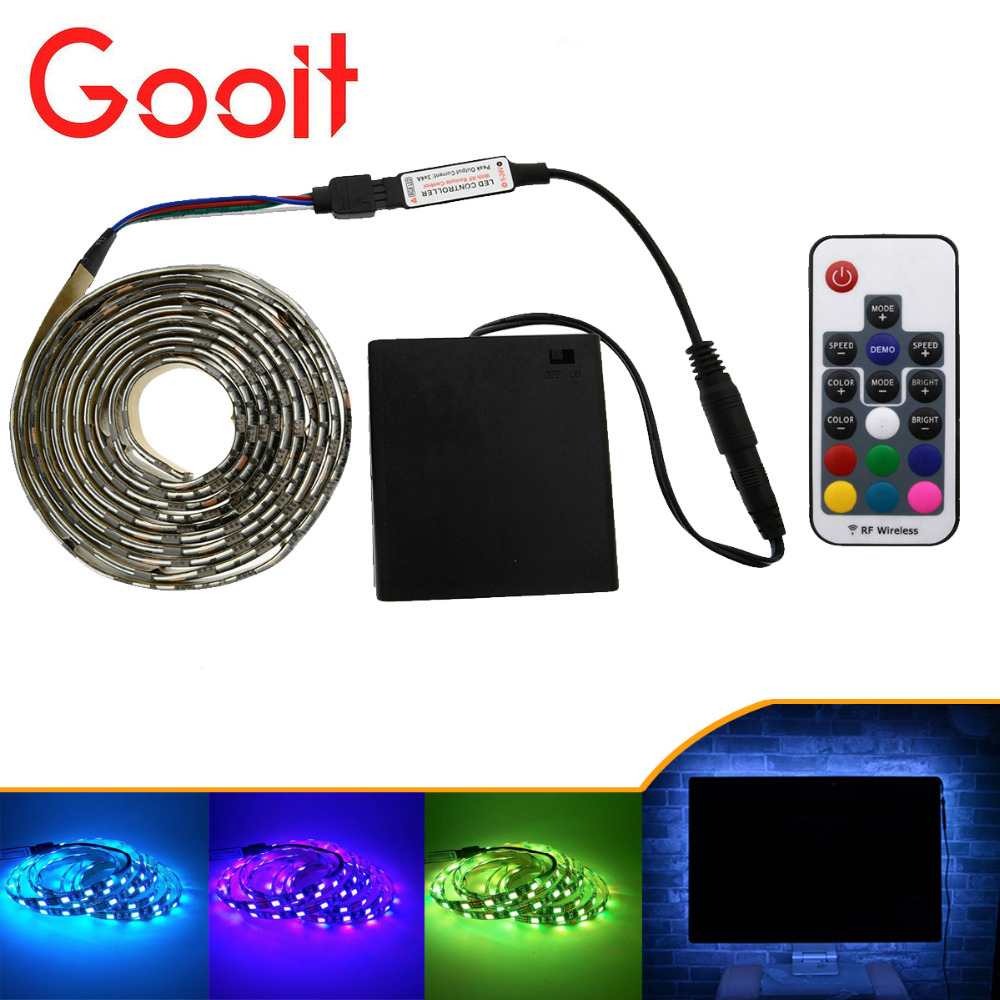 5050 LED Strip 5V TV lights RGB Black PCB IP20 / IP65 Waterproof Decorative Light lamps with RF contrllor 5V 4*AA Battery pack duracell replacement 1 5v alkaline aa battery black golden 4 pcs