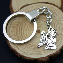 Home Decor Metal Crafts Party Favors praying angel Pendants DIY Car Key Ring Holder Souvenir For Gift