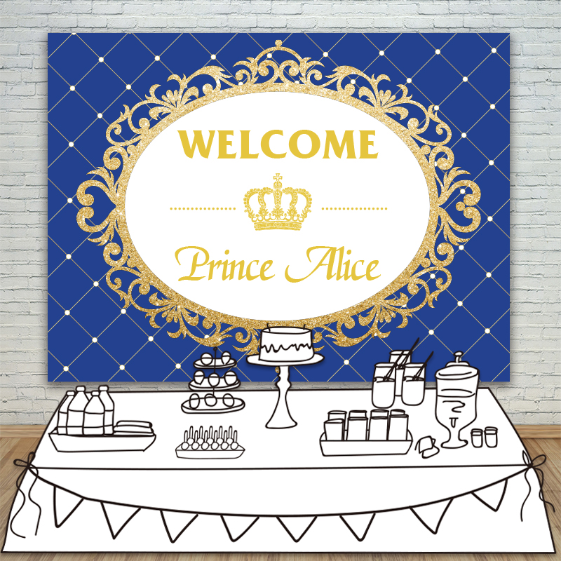 Allenjoy Background blue Prince Party Baby Shower Gold Glitter Birthday Crown Invitation celebration Party Table Backdrop crown headband cute lace flower hair band photo props 1st birthday headband princess glitter crown birthday crown