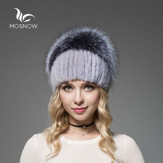MOSNOW New 2016 Real Mink Fur Woman Winter Hats Silver Fox Pompons Stripe Luxury Stripe Solid Knitted Female Women Beanies