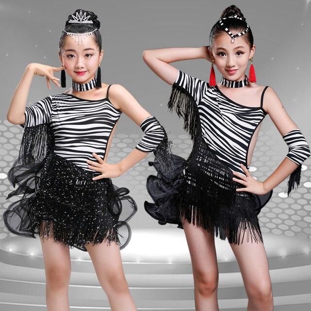 f708ddb97 New Child Girls Sexy Black Tassels Sequined dancing dress Kids Samba  Competition Ballroom Salsa Latin Fringe
