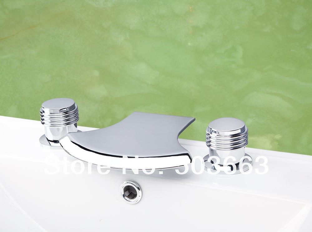 OUBONI Bathroom 3 Pieces Bathtub Shower Faucet Set Basin Sink ...